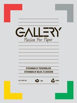 Gallery bloc de dessin Steinbach, ft 27 x 36 cm, 200 g m², 20 feuilles