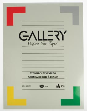 Gallery bloc de dessin 250 g/m², Steinbach grainé, 20 feuilles, ft 27 x 36 cm