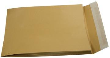 Gallery enveloppen met balg ft 229 x 324 x 35 mm, stripsluiting, bruine kraft, doos van 250 stuks