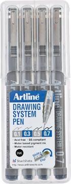 Fineliner Drawing System étui de 4 pièces: 0,1 - 0,3 - 0,5 et 0,7 mm