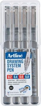 Fineliner Drawing System étui de 4 pièces: 0,2 - 0,4 - 0,6 et 0,8 mm