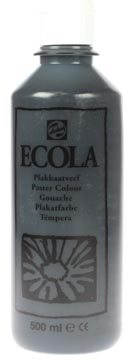 Talens Ecola plakkaatverf flacon van 500 ml, zwart