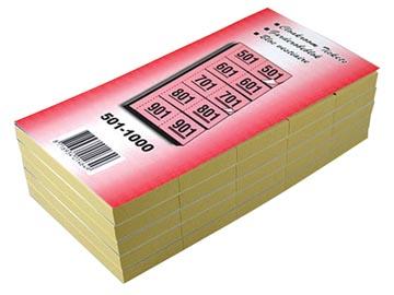 Garderobeblokken nummers van 501 t.e.m. 1.000, geel