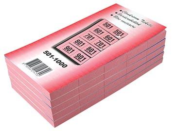 Carnets pour vestiaire numéros de 501 à 1.000, cerise