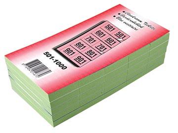 Carnets pour vestiaire numéros de 501 à 1.000, vert