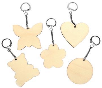 Graine Créative Porte-clés en bois, différentes formes, diamètre 55 mm, sachet de 10 pièces