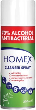 Homex cleanser spray, 70 % alcool, bombe aérosol de 200 ml