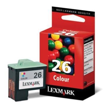Lexmark cartouche d'encre 26, 3 couleurs, 275 pages - OEM: 10N0026E