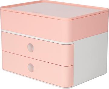 Han ladenblok Allison, smart-box plus met 2 laden en organisatiebak, wit/roze