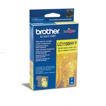 Brother inktcartridge, 750 pagina's, OEM LC-1100HYY, geel