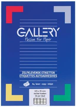Gallery witte etiketten ft 105 x 35 mm (b x h), rechte hoeken, doos van 1.600 etiketten