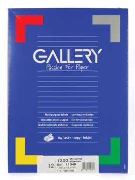 Gallery étiquettes blanches, ft 105 x 48 mm (l x h), coins carrés, boîte de 1.200 étiquettes