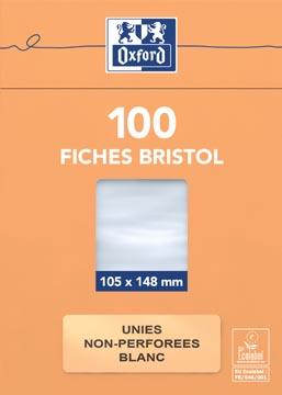 OXFORD flashcards ongeperforeerd, ft 105 x 148 mm, effen, wit, pak van 100 vel