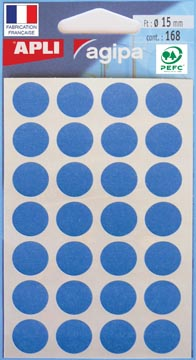Agipa ronde etiketten in etui diameter 15 mm, blauw, 168 stuks, 28 per blad