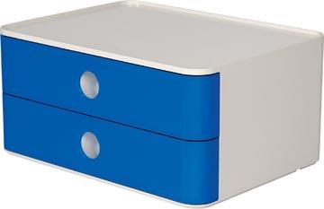 Han bloc à tiroirs Allison, smart-box avec 2 tiroirs, blanc/bleu