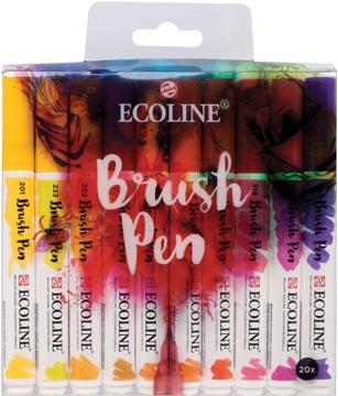 Talens Ecoline Brush pen, etui met 20 stuks in geassorteerde kleuren