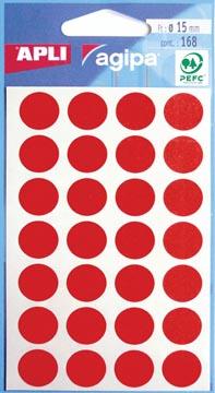 Agipa ronde etiketten in etui diameter 15 mm, rood, 168 stuks, 28 per blad