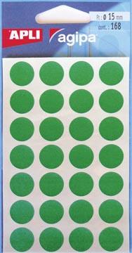 Agipa étiquettes ronds en pochette diamètre 15 mm, vert, 168 pièces, 28 par feuille