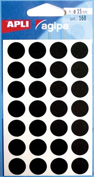 Agipa ronde etiketten in etui diameter 15 mm, zwart, 168 stuks, 28 per blad