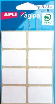 Agipa étiquettes blanches en pochette ft 24 x 35 mm (l x h), 56 pièces, 8 par feuille