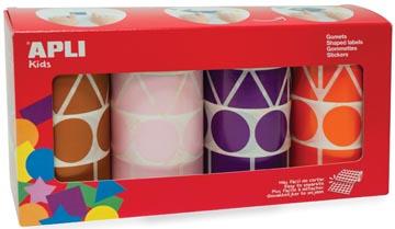 Apli Kids stickers XL, doos met 4 rollen in 4 kleuren en 4 vormen (bruin, roze, paars en oranje)
