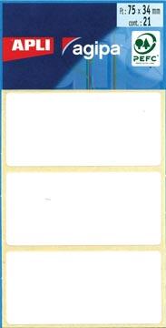 Agipa witte etiketten in etui ft 34 x 75 mm (b x h), 21 stuks, 3 per blad
