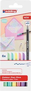 Edding feutre de coloriage e-1200, étui cartonné avec 6 feutres en couleurs pastel assorties