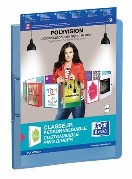 OXFORD Polyvision classeur à anneaux personnalisable, format A4, en PP, dos de 3 cm, 2 anneaux, bleu