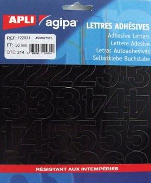 Agipa étiquettes chiffres et lettres hauteur des lettres 30 mm (l x h), 214 chiffres