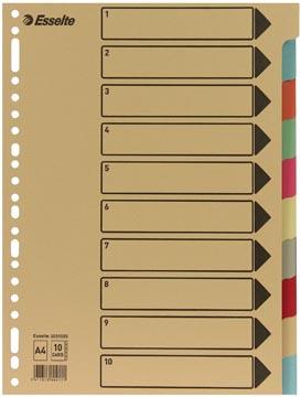 Esselte intercalaires 10 onglets, carton de 275 g/m²