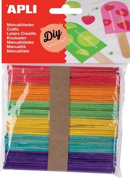 Apli gekleurde houten sticks, blister met 50 stuks