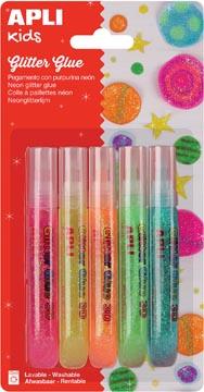 Apli Kids glitterlijm, blister met 5 tubes van 13 ml in geassorteerde fluo kleuren