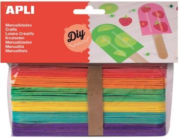 Apli jumbo gekleurde houten sticks, blister met 40 stuks
