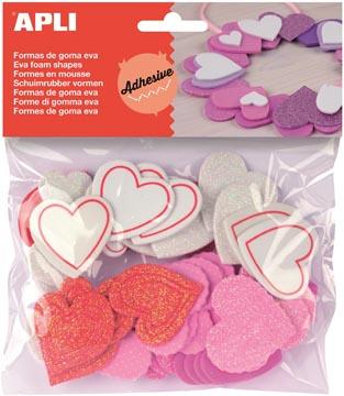 Apli Kids zelfklevende glitter harten, blister met 52 stuks