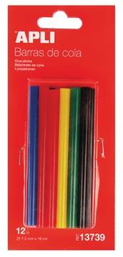 Apli gekleurde lijmpatronen 7,5 mm, blister met 12 stuks