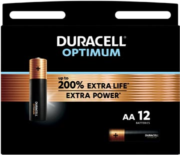 Duracell batterij Optimum AA, blister van 12 stuks