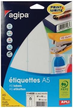 Agipa étiquettes blanches Print & Write ft 97 x 46 mm (l x h), 96 pièces, 6 par feuille