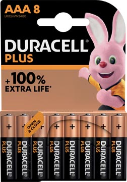 Duracell pile Plus 100% AAA, blister de 8 pièces