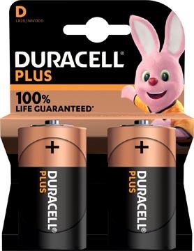 Duracell piles Plus 100% D, blister de 2 pièces
