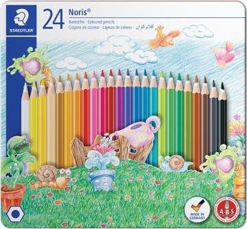 Staedtler kleurpotlood Noris Club 24 potloden in een metalen doos