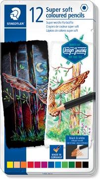Staedtler crayon de couleur Design Journey Super Soft, boîte métallique avec 12 crayons