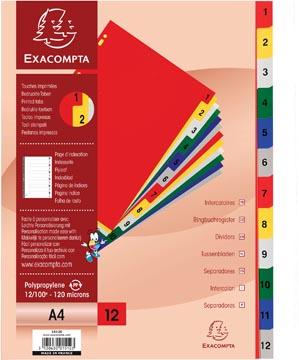 Exacompta intercalaires numérique pour ft A4, en PP 12/100e, 12 onglets en couleurs, index, blanc