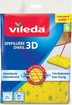 Vileda dweil 3D structuur, geel, pak met 2 stuks