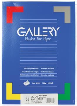 Gallery étiquettes blanches, ft 70 x 32 mm (l x h), coins carrés, 27 par feuille