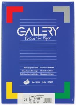 Gallery étiquettes blanches ft 70 x 38 mm (l x h), coins carrés, 21 par feuille