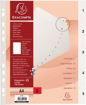 Exacompta intercalaires numérique pour ft A4, en PP, 5 onglets, index, blanc