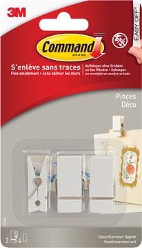 Command pince, blister de 3 pinces et 4 languettes, blanc