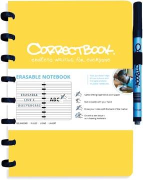 Correctbook A5 Original: uitwisbaar / herbruikbaar notitieboek, gelijnd, geel