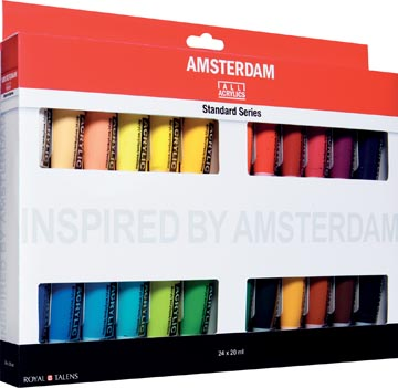 Amsterdam acrylverf tube van 20 ml, etui van 24 stuks in geassorteerde kleuren