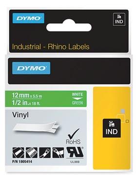 Dymo RHINO vinyltape 12 mm, wit op groen